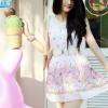 """เดรสน่ารัก : ผ้าชีฟองสีชมพู """"คอบัวถัก ลูกไม้สีขาว กระโปรงพิมพ์ลายดอกไม้ สีชมพูหวาน มิกซ์กันแล้วดูลงตัวสุดๆ ค่ะ"""