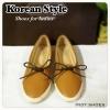 Korean Style พร้อมส่ง สินค้าขายดี รองเท้าคัชชูแบบสวม มีเชือกผูกโบว์เก๋ๆ ใส่แล้วชิคสุด ๆใส่เที่ยวสบายชิวๆ เดินสบาย หนังนิ่ม ห้ามพลาดเลยนะจ๊ะ