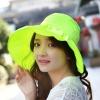 Pre-order หมวกแฟชั่น หมวกใบกว้าง หมวกฤดูร้อน กันแดด ผ้าโพลีเอสเตอร์ สีเหลืองเรีองแสง