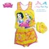 Size XS - ชุดว่ายน้ำเด็กผู้หญิง Disney Princess สีเหลือง มาพร้อมกับเสื้อแขนกุดสกรีนลาย เจ้าหญิง ปริ้นเซส กางเกงกระโปรง หมวกว่ายน้ำ สุดน่ารัก ใส่สบาย ลิขสิทธิ์แท้ (สำหรับเด็กอายุ 6เดือน-2 ปี)