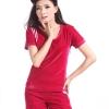 Pre-order ชุดกีฬา ชุดออกกำลังกาย ชุดลำลอง เสื้อแขน กางเกงขาสั้นำ ผ้ากำมะหยี่สีแดง
