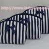 กระเป๋าเครื่องสำอางค์ นารายา ผ้าคอตตอน ลายทาง สีน้ำเงิน-ขาว เป็นชุด 3 ชิ้น Size L,M,S (กระเป๋านารายา กระเป๋าผ้า NaRaYa)