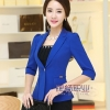 Pre-Order เสื้อสูทแฟชั่นทำงาน เสื้อสูทผู้หญิงสีน้ำเงิน สูทคอวี คอปก แขนสามส่วนไหล่ยก แฟชั่นชุดทำงานสไตล์เกาหลี