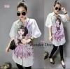 NEW ARIVAL BARBIE LONG SHIRT KOREA DESIGN BY WONDER DRESS เสื้อเชิ๊ตตัวยาวแขนตุ๊กตา เนื้อผ้า Cotton100% ผ้าสวยมาก แต่งดีเทลด้วยการพิมพ์ลายการ์ตูนเจ้าหญิงสุดน่ารัก สีสันสวย งามมากค่ะ สาวๆสามารถใส่เป็นมินิเดรสได้เลยน่ะค่ะ งานน่ารัก มากค่ะ แม่ค้าแนะนำเลย