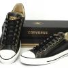 รองเท้า Converse All Star Overseas Edition หนังดำปี 2011 หุ้มส้น ตาไก่6เหลี่ยม ข้อสั้น ผู้ชาย ผู้หญิง Shoes Size 37-44 พร้อมกล่อง