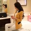 Pre order เสื้อสูทแฟชั่นเกาหลี ปกสูท แขนยาว แต่งด้วยผ้าต่างสีที่ปกและกระเป๋า สีเหลือง