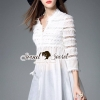 Seoul Secret Say's... Lacely Ivory Layer Lace Dress Material : เสื้อสีขาว เนื้อผ้าคอตตอนเนื้อนุ่มสวย ใส่สบายเนื้อผ้าสวยอย่างดีนะคะ เสื้อตัวนี้ดีเทลงานเยอะมากคะ สวยหวานด้วยงานเย็บแต่งด้วยผ้าลูกไม้ฉลุแต่งเป็นเลเยอร์ๆ ประดับที่ตัวเสื้อนะคะ ชายแขน ชายเสื