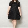 ชุดเดรสสาว Plus size แขนสั้นผ้าชีฟองสีม่วงพิมพ์ลายจุดสีดำแต่งแต่งประกายสีเงินเล็กๆ บุซับใน (XL,2XL,3XL) เพิ่มเติม **ชุดเดรสไซส์ใหญ่ ผ้าชีฟองพิมพ์ลายดอท เนื้อผ้ามีประกายวิ้งในตัวเล่นแสงไฟ ชุดมีซิปด้านหลัง บุซับใน **
