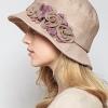 Pre-order หมวกผ้าลินินติดโบว์ดอกไม้แฟชั่นฤดูร้อน กันแดด กันแสงยูวี สวยหวาน สีเบจ