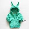 (พร้อมส่ง Size 5) เสื้อกันหนาวสีเขียว มีฮุกหูกระต่ายน่ารัก ผ้าดีคะ