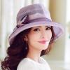 Pre-order หมวกผ้าไหมติดโบว์แฟชั่นฤดูร้อน กันแดด กันแสงยูวี สวยหวาน สีม่วง