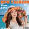 Pre-order หมวกแฟชั่น หมวกใบกว้าง หมวกฤดูร้อน กันแดด หมวกกันแสงยูวี ผ้าลินิน สีเทาพิมพ์ลายดอกไม้