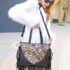 กระเป๋าแฟชั่นนำเข้า : กระเป๋าแฟชั่น พร้อมส่ง Maomao สีดำ หนัง PU แต่งลายเสือเก๋ๆ แต่งพู่ข้างๆสุดเท่ห์ มีสายสะพายยาวให้ จุของได้เยอะ