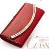 Pre-order กระเป๋าสตางค์หนังแท้ผู้หญิง สามพับ กระเป๋าสตางค์แบบยาว สีแดง แฟชั่นเกาหลี
