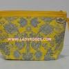กระเป๋าเครื่องสำอางค์ นารายา ผ้าคอตตอน Size L สีเหลือง ลายหยดน้ำ มีสายคล้องแขน (กระเป๋านารายา กระเป๋าผ้า NaRaYa)