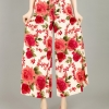 Pre-Order กางเกงผ้าลินินพิมพ์ลาย ขาบาน กางเกงลำลองเหมาะกับฤดูร้อน ลายกุหลาบสีแดง