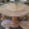 โต๊ะหินอ่อนสีชมพูลายทองขนาด 130 เซนติเมตร โต๊ะสูง 80 เซนติเมตร
