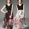 Korea Design By Lavida floral printed sleeveless back top maxi dress แมกซี่เดรสแขนกุด ดีไซน์ผ้าลูกไม้+chiffon ตัวเสื้อลูกไม้สีดำคอวี กระโปรงยาวลายดอกกุหลาบสีสันสดใส ผ้าพริ้วนิ่มใส่สบายๆไม่ร้อน พร้อมซับในทั้งตัว ซิปซ่อนด้านหลัง มาให้เลือก2โทนสี ต่างกันที่ล