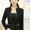พรีออเดอร์ เสื้อสูทแฟชั่นเกาหลี สีดำ คอจีน กุ๊นริมด้วยผ้าสีครีม