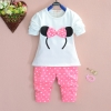 (พร้อมส่ง Size 4 ) ชุดเด็กลายมินนี่ สีชมพู เสื้อ+กางเกง+เข็มขัดเข้ากัน