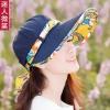 Pre-order หมวกแฟชั่น หมวกแก็ปปีกกว้าง หมวกฤดูร้อน กันแดด กันแสงยูวี สีบลูยีนส์แต่งด้วยผ้าพิมพ์ลายดอกไม้