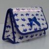 กระเป๋าเครื่องสำอางค์ นารายา ผ้าคอตตอน สีขาว ลายช้างแม่-ลูก สีน้ำเงิน มีกระจกในตัว Size L (กระเป๋านารายา กระเป๋าผ้า NaRaYa)
