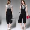 Korea Design By Lavida noble luxury lace decorated sleeveless diva jumpsuit #จั้มสูท สไตล์แบรนด์ดัง ช่วงตัวเสื้อใช้ผ้าลูกไม้หลายแบบ ลูกไม้ทอลายใบไม้ขาวดำ ลายวงกรมเรียงต่อกันแต่งซับในด้านหน้า แอบหวานแขนแต่งระบาย2ชั้นด้วยผ้าซีทู กางเกงทรงขาบานสีดำผ้าpolyest
