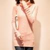เสื้อผ้าแฟชั่นนำเข้า : เสื้อกันหนาวไหมพรม พร้อมส่ง สีชมพูโอรส คอเต่า แต่งลายถักเก๋ น่ารักๆ สินค้ามาใหม่สไตล์เกาหลี