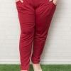 กางเกงไซส์ใหญ่ขายาวผ้าโพลีเอสเตอร์สีแดงมีกระเป๋าสองข้างติดยางยืดช่วงเอว (4XL,5XL,6XL)