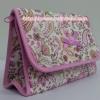 กระเป๋าเครื่องสำอางค์ นารายา ผ้าคอตตอน ลายหยดน้ำ สีชมพู มีกระจกในตัว Size L (กระเป๋านารายา กระเป๋าผ้า NaRaYa)