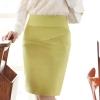 (Pre-Oder) กระโปรงทำงาน ทรงสอบ ผ่าหลัง สีเหลืองปนเขียว สีไพล
