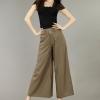 Pre-Order กางเกงผ้าลินิน ขาบาน กางเกงลำลองเหมาะกับฤดูร้อน สีกากี