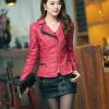 พร้อมส่ง XL เสื้อแจ็คเก็ตหนัง เสื้อแจ็คเก็ตผู้หญิง เข้ารูปพอดีตัว คอจีน มีปก สีแดง แต่งซิปเก๋ ขลิบดำ แฟชั่นเกาหลี