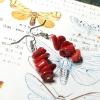 ++ ต่างหู Coral ปะการังย้อมสีแดง ทรงอิสระ ++