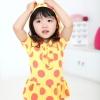 ชุดว่ายน้ำเด็ก ชุดว่ายน้ำเด็กผู้หญิง สีเหลืองจุดส้ม