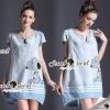 Seoul Secret Say's... Hello Snoppy Denim Dress Material : เดรสใส่สบายๆ เก๋ๆด้วยทรงคอวี เติมความน่ารักด้วยงานแต่งด้วยลายสนูปปี้ เติมความสวยด้วยงานรีดด้วยหมุดเงินแต่งที่สนูปปี้และที่คอนะคะ สวยเก๋ด้วยเนื้อผ้ายีนส์แบบซอล์ฟใส่สบายๆ ใส่เที่ยวชิลล์ในวันพักผ