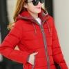 Pre-Order เสื้อโค้ทผู้หญิงแฟชั่น สีแดง แต่งริมสีเทา มีฮู๊ด แขนจั๊ม แฟชั่นเกาหลี