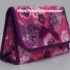 กระเป๋าเครื่องสำอางค์ นารายา ผ้าคอตตอน สีชมพู ลายดอกไม้ มีกระจกในตัว Size L (กระเป๋านารายา กระเป๋าผ้า NaRaYa)