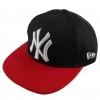 หมวก HIPHOP สีดำปีกหมวกสีแดงปัก NY สีขาว