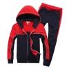 Pre-order ชุดออกกำลังกายแฟชั่น ชุดกีฬาสีแดง-ดำ ผ้าเนื้อแน่น หนา สำหรับอากาศค่อนข้างเย็น