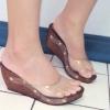 รองเท้าพร้อมส่ง ด้านหน้าสวมเปิดหน้า ซิลิโคนใส ไม่บาดเท้า ส้นเตารีดหุ้มด้วยหนัง