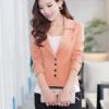 พรีออเดอร์ เสื้อสูทแฟชั่นสไตล์เกาหลี ผ้าโพลีเอสเตอร์ คอวี มีปก ติดกระดุม 4 เม็ด กระเป๋าข้างมีฝา สีส้ม
