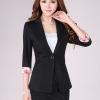 Pre-Order เสื้อสูททำงาน เสื้อสูทผู้หญิง สูทลำลอง สีดำ แขนสามส่วนแต่งปลายแขนด้วยผ้าพิมพ์ลาย แฟชั่นชุดทำงานสไตล์เกาหลีปี 2014