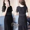 Cliona made'Luxury Black Lace Dress Premium Quality - mini dress งานลูกไม้แขนสั้นลูกไม้เกรด A. นิ่มสวมใส่สบาย ซิปหลังซับในทั้งตัว. เอว เย็บขอบเส้นสีขาวคล้ายเข็มขัด. ช่วงชายกระโปรงเลยลูกไม้เป็นผ้าอัดพรีท ทรงสวย ใส่สบายจ้า งานเกรด Premium Quality By Cl
