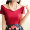 (Pre-Order) เสื้อยืดลำลองคอกว้าง เสื้อยืดผ้าฝ้าย modal สีไวน์แดง