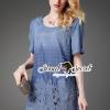 Seoul Secret Say's... Blossom Lace Tail Chic Blue Denim Dress Material : สวยเก๋แบบสาวมีคลาสด้วยเดรสสไตล์ลำลอง มีดีเทลเก๋ๆ คัตเอาท์ที่ช่วงแขน เติมความสวยด้วยงานรีดประดับด้วยหมุดสีเงิน เติมความสวยด้วยงานเย็บแต่งชายด้วยผ้าลูกไม้ทอลายดอกไม้แต่งที่ชายเดรส