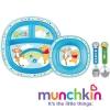 ชุด จาน ชาม ช้อน ส้อม Munchkin Disney Dining Set - 4 colours stainless steel หมีพู สีฟ้า