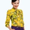 (Pre-Order) เสื้อชีฟองแขนยาว ลายมะนาว สีเหลืองมะนาว แฟชั่นเสื้อมาใหม่ปี 2014