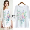 Lady Ribbon's Made Lady Joanne Vintage Floral Print Blouse เสื้อแขนสามส่วนสีขาวพิมพ์ลายดอกไม้สไตล์วินเทจ ตัวนี้เหมาะกับสาวหวาน ปลายแขนเสื้อประดับผ้าลูกไม้ ด้านหน้าตรงกลางตัวพิมพ์ลายช่อดอกไม้สีสันสดใส เป็นเหมือนภาพวาดสีน้ำเลยค่ะ เก๋มากๆ มิกซ์แอนด์แมตช