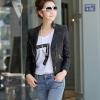Pre-Order เสื้อแจ็คเก็ตหนัง เสื้อแจ็คเก็ตผู้หญิง เข้ารูปพอดีตัว คอจีน มีปก สีดำ แต่งซิปเก๋ แฟชั่นเกาหลี